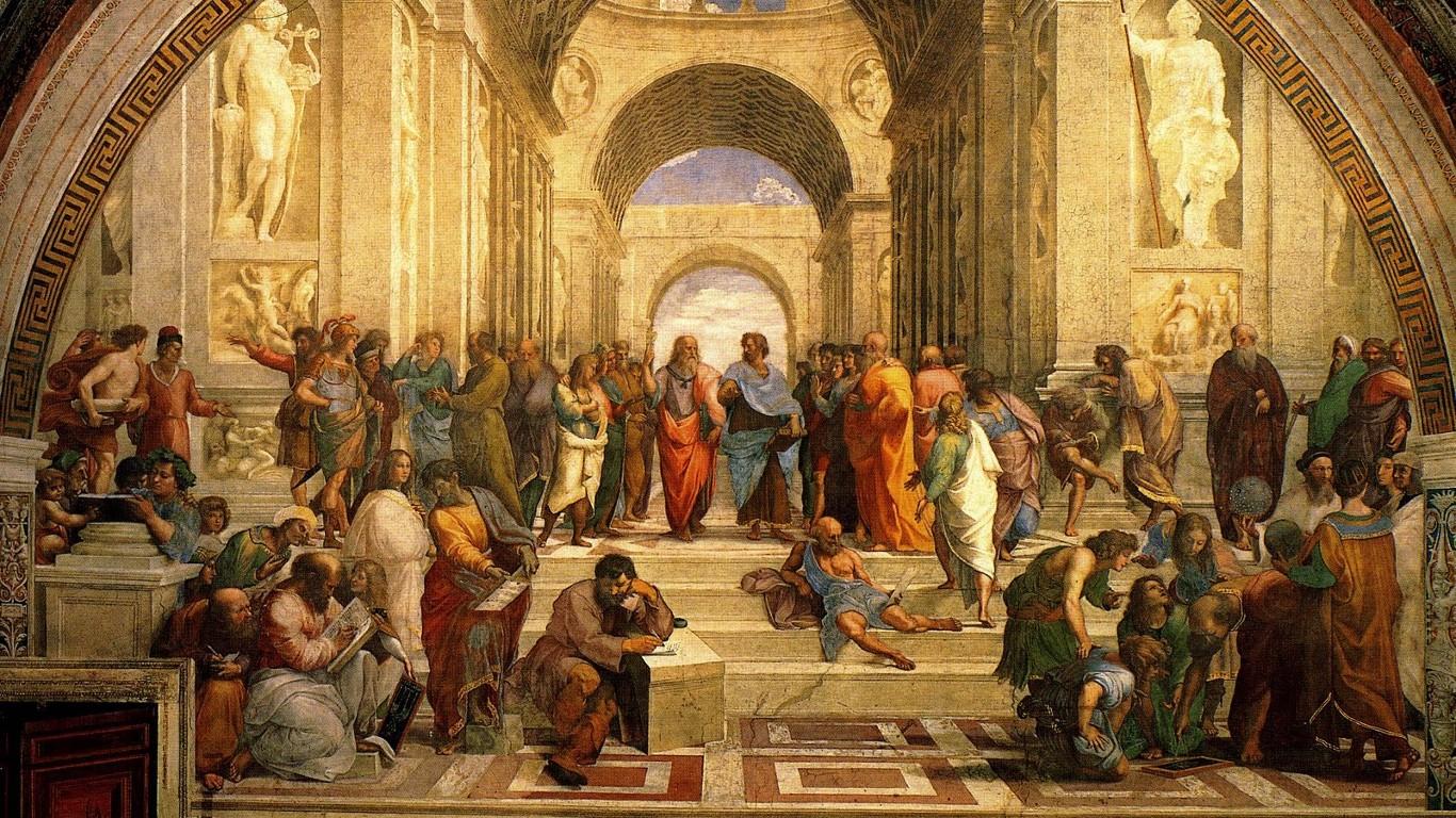 مدرسة أثينا هي لوحة رسمها رافائيل عام 1511 في إحدى غرف القصر البابويَ في الفاتيكان.